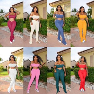 Off Shoulder Tracksuits Sexy Bodycon Matching Sets Women Sleeveless Club Party Two Piece Outfits Top And Stacked Pants Set