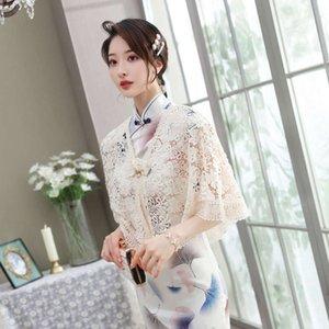 Elegant matching short Chinese lace women's cardigan thin cloak coat cheongsam shawl