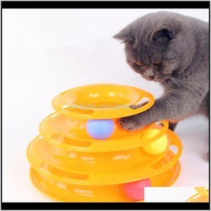 Supplies Home & Gardenthree Levels Tower Tracks Pet Toy Cat Intelligence Triple Disc Toys Ball Training Amusement Plate Drop Delivery 2021 3