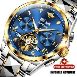 Роскошные автоматические механические мужские часы с алмазным сапфиром светящиеся календарь мужчины 316L из нержавеющей стали скелетные часы наручные часы