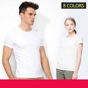 T-shirt à manches courtes d'été Hommes de basse chemise de bas solide Vêtements Slim Fit Casual Crocodile Broderie Coton Hommes Blancs T-shirts