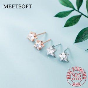 Trendy Sterling Prata Bonito Flower Stars Zircon Brincos de DIY Handmade Semi Semi Conceito Acessório Atacado