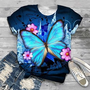 Womens Casual 3D Printing Short Sleeve O-Neck Tops Tee T-Shirt Blue Luminescent Pullover Leisure Summer All-match Clothes Women's