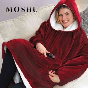 Women Blanket Sweatshirt Robe Winter Hoodies Outdoor Hooded Coats Warm Comfy Hooded Soft Bathrobe Fleece Blanket Sudadera Mujer