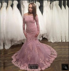Vestido De Festa pink tulle mermaid prom dresses lace appliques beaded off the shoulder long sleeve modest party dress court train stylish corset evening gowns
