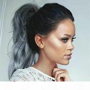 Cuticle aligné Human Cheveux Ponçons Extensions Clip de couleur grise dans une vrac de queue de queue de queue de queue de cuve de cuillère