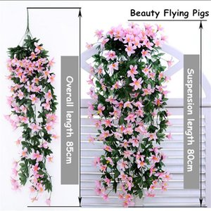 Decorative Flowers & Wreaths Home Decor 1 Pieces Lily Hanging Flower Wall Orchid Basket Living Room Decoration Artificial Silk