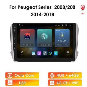 Игрок Android 10 Мультимедийная стерео Автомобильная DVD Навигация GPS Radio на 2008 год 208 серии 2012-2021 с WiFi 4G OBD2 DVR DAB