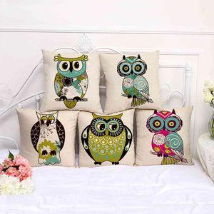 Color cartoon funny Big Eye Owl series Cotton hemp home decoration pillow case a1029