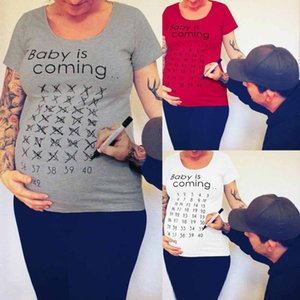 Maternity Tops & Tees TELOTUNY Summer Women Pregnancy Clothes Baby Is Coming Short T Shirt Solid Top For Pography Po Shoot