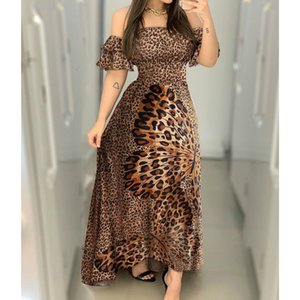 Dresses Off Shoulder Women Lady Ruche Luipaard Print Flare Long Sunglasses Sexy Ladies Strappy Slash Neck Vestido