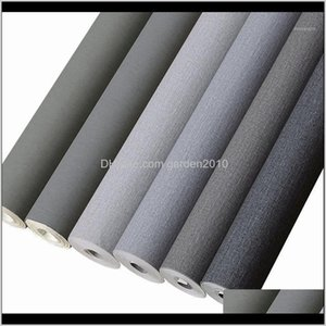 Wallpapers Décor Home & Garden Drop Delivery 2021 Nordic Modern Minimalist Bedroom Living Room Wallpaper Pure Coloured Non-Woven Cement Grey1