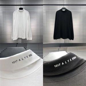 1017 9SM Rulo Balıkçı Yaka Siyah Beyaz Erkek Kadın 1: 1 Yüksek Kaliteli Boyun Çizgisi Baskı Alys Tee Uzun Kollu T-Shirt
