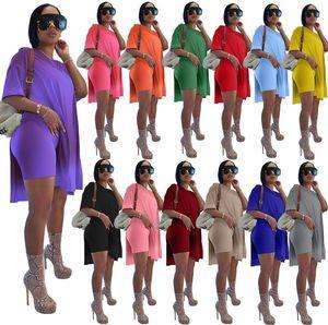 Женщины плюс Размеры Scestsuits Двухструктурные наборные наряды Дизайнер Мода Сплит с коротким рукавом Леггинсы Свободная рубашка Топы + Шорты Jogger Suits