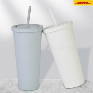 Hot Plastic Mugs With Straws Macaron Color 15 Colors Water Cups PE 22OZ Mugs Solid Plain Brief Water Bottles In Stock CA27
