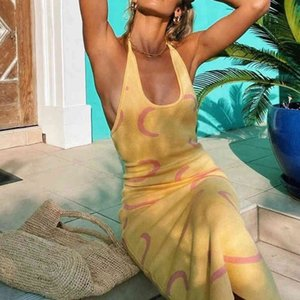 Dresses Summer Knitted Bodycon Y2k Halter Neck Yellow Sleeveless Midi Backless Party Sexy Es Beach