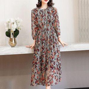 Casual Dresses Spring Summer Women Shows Thin Temperament Long Shirt Sleeve Print Silk Ladies Desses Clothing Y33 8YTI