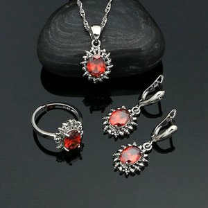 Woman's Earrings Ring Pendant Chain Red Garnet 925 Sterling Silver Set Engagement Gift Fashion Jewelry Kit