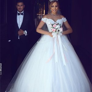 New A-line Princess Wedding Dresses 2021 Off The Shoulder Bridal Gown High Quality Romantic Lace Appliques Tulle Beads