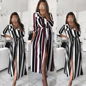 Stripe Maxi Dress Office Lady Turn-Down Collar Button Long Shirt Dress Women Autumn Summer Long Sleeve Dress