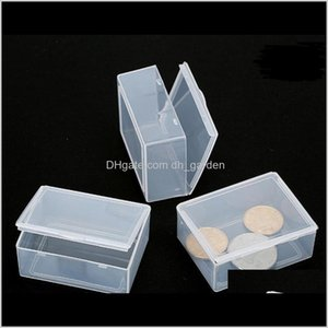 Bins Housekeeping Organization Home & Garden Drop Delivery 2021 Small Plastic Boxes Transparent Jewelry Storage Packaging Box Coin Case Size