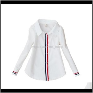 Baby Clothing Baby Maternity Drop Delivery 2021 Students White Girls School Uniforms Cotton Striped Shirts For Kids Tops 2 4 6 8 10 12 14 15