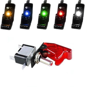 Car Boat Truck Illuminated Led Toggle Switch Control With Safety Aircraft Flip Up Cover Guard 12V20A transparent