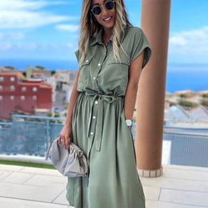 Women Summer Short Sleeve Turn Down Collar Shirt Dresses Sexy Solid Midi Long Casual Dress With Sashes E20