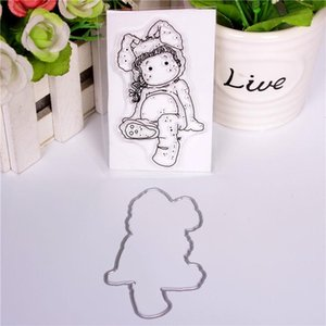 Painting Supplies Girl Cartoon Pattern Stamp And Metal Die Scrapbooking Alphabet Embossing Craft Making Silicone Transparent Stamps