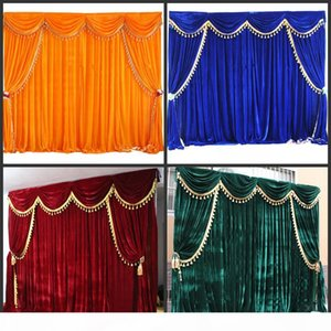 Velvet Wedding Backdrop Curtains with Tassel Swags High Quality 3*6m Party Backdroung Curtain For Wedding Deaoration