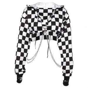 Women Plaid Casual Streetwear Sweatshirt Hoodie Crop Top Jumper Pullover Chain Stitching Short Loose Shirt Women's Hoodies & Sweatshirts