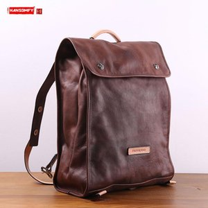Backpack Genuine Leather Men Casual Male Travel Backpacks Computer Bag Water Dyed Vegetable Tanned Cowhide Shoulder Bags