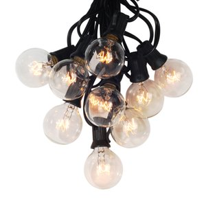 25Ft Globe String Lights with 27x G40 Clear Bulbs, UL listed Backyard Patio Lights, Hanging Indoor Outdoor Light for Bistro Pergola Deckyard Tents Market Cafe