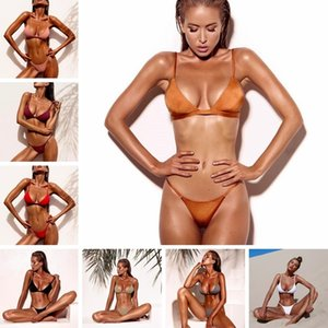 Bikini new women's split solid color swimsuit sexy bikini