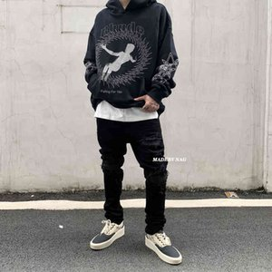 High Nag Independent Rhude20aw Street Wash Water Ash Make Old Letter Portrait Hoodie Os Loose Men's and Women's Sweater