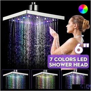 Cabeza de baño Grifos Duchas ACCS HOME JARDÍN DROP ENTREGA 2021 Xueqin 6 pulgadas ABS Cuadrado Lluvia LED Cambio de ducha Cabeza de ducha Contratable