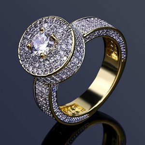 Mens Hip Hop Gold Rings Jewelry 18K Gold Plated Rings Fashion Gemstone Simulation Diamond Iced Out Rings For Men