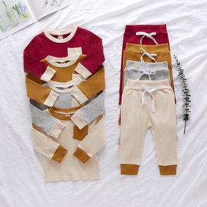 Baby Clothings set Solid Color Stripe Pit Long Sleeve Sweatshirt + Pants InfantSpring and Autumn Pajamas Kids Suits ZYY924
