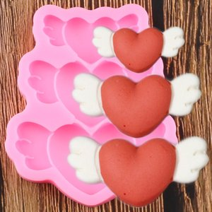 Sheer Curtains Wings 3d Silicone Heart Molds Baby Birthday Cupcake Topper Fondant Cake Decorating Tools Chocolate Gumpaste Candy Clay Moulds