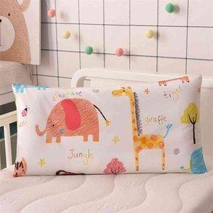 4 Colors Cartoon Cotton Kids Pillow Soft Washable Baby Sleeping Head Cushion Lengthen Rectangle Toddler Pillow Portable Headrest 210924