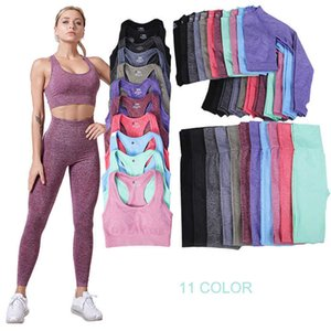 Women's Workout Outfit 2 3 Pieces Seamless Yoga Leggings with Sports Bra Gym Clothes Womens Tracksuit Crop Top