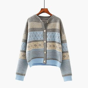 Women sweater long cardigan cashmere chunky knit cardigan V-Neck Print Button Embroidery Thin Wool parka warm jackets for women