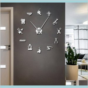 Wall Clocks Home Décor & Garden Dentist Tools Frameless 3D Clock Dental Practitioners Clinic Stomatological Hospital Orthodontics Room