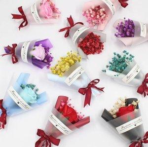 Mini Natal dia dos namorados presente secado flores artificiais falsificadas gypsophila buquê criativo eterno buquês de sabão flor sn2617