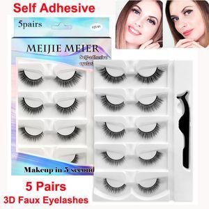 3D Faux Mink False Eyelashes Self Adhesive Lashes with Tweezer Makeup Set 5 Pairs Fake eyelash Handmade Soft Comfortable Curl Thick Cross Lash