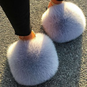Diapositivas de zorro real para las mujeres Furry PLUCHE con Lavadora Oso de piel Femenino Femenino Lindo Pump Designer al por mayor Zapatos de zapatos