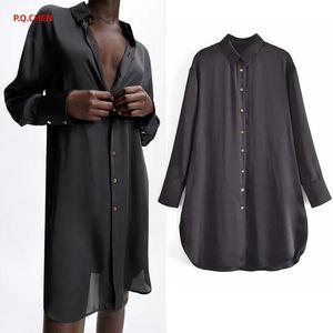 Women's Blouses & Shirts P.Q.CHEN Black Long Shirt Women 2021 Oversize Satin Blouse Female Collared Sleeve Button Up Woman Casual Summer Top