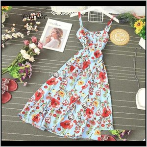 Casual Dresses Womens Clothing Apparel Drop Delivery 2021 Fitaylor Summer Sexy Spaghetti Strap Floral Print Long Women Ruffled Button Boho Hi