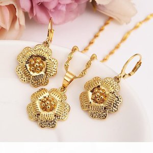 14k Yellow Fine Gold filled big Flower Blossom set women girls Jewelry Pendant Chain Earrings Bride Wedding Flower Bijoux gift