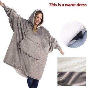 Blankets Fleece Blanket With Sleeves Outdoor Hooded Pocket Warm Soft Hoodie Slant Robe Bathrobe Sweatshirt Pullover